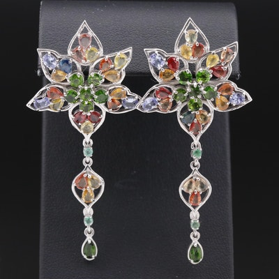 Sterling Silver Diopside, Sapphire and Emerald Flower Dangle Earring
