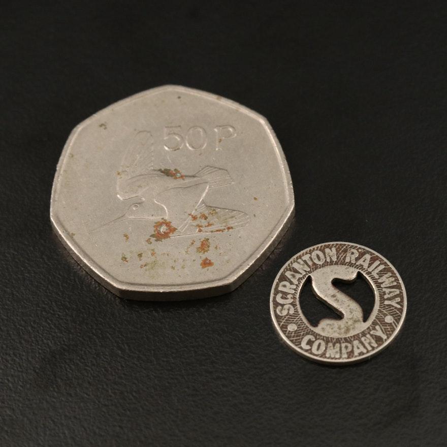 1975 Ireland 50-Pence Coin and Scranton Railway Transit Token