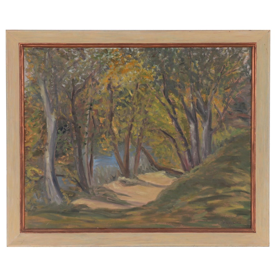 Marian Hascall Forest Interior Oil Painting, Mid 20th Century