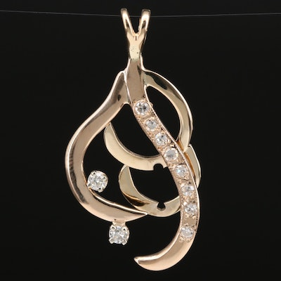 14K Freeform Diamond Pendant