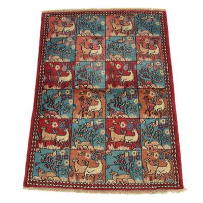 3'0 x 4'3 Hand-Knotted Persian Sarouk Pictorial Rug, 1980s