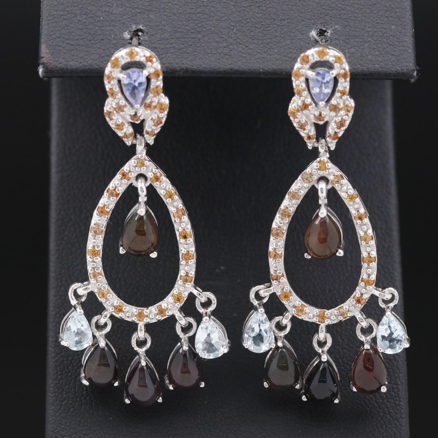 Sterling Silver Opal, Sapphire and Tanzanite Dangle Earrings
