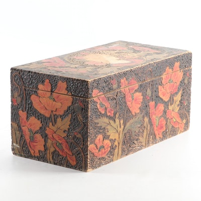 Arts and Crafts Pyrography Box, Early 20th Century