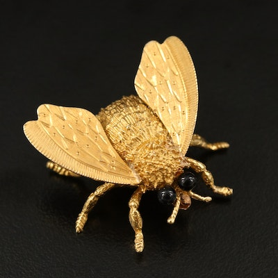 Cellino 18K Black Onyx Bumble Bee Brooch