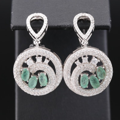 Sterling Silver Beryl and Cubic Zirconia Dangle Earrings