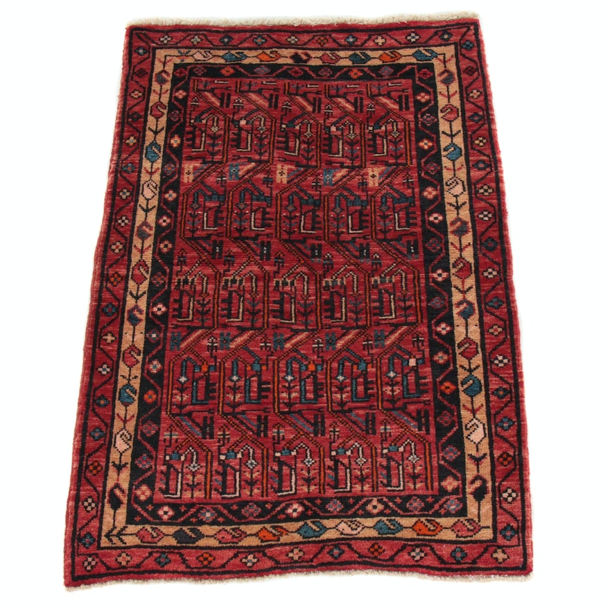 2'8 x 3'10 Hand-Knotted Persian Heriz Rug, 1990s