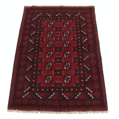 3'5 x 5' Hand-Knotted Afghani Turkoman Rug, 2000s