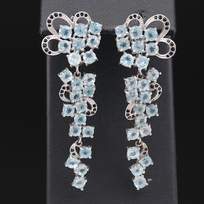 Sterling Silver Apatite and Cubic Zirconia Floral Motif Dangle Earrings