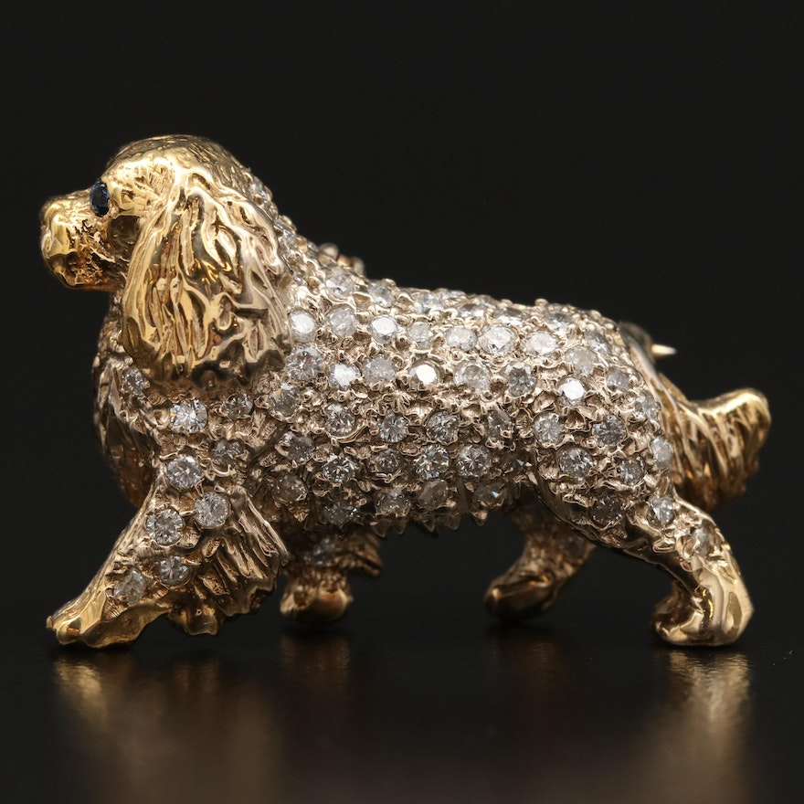 1950s 14K Diamond and Sapphire Cavalier King Charles Spaniel Converter Brooch
