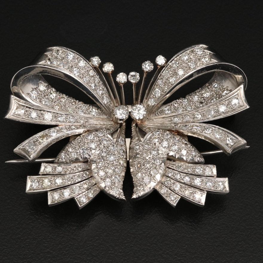 1940s Platinum 4.34 CTW Diamond Duette Brooch