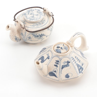 Miniature Octagonal and Other Hand-Painted Blue and White Teapots, 20th Century