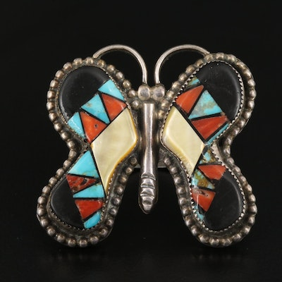 Western Style Signed Sterling MOP, Turquoise and Coral Butterfly Ring