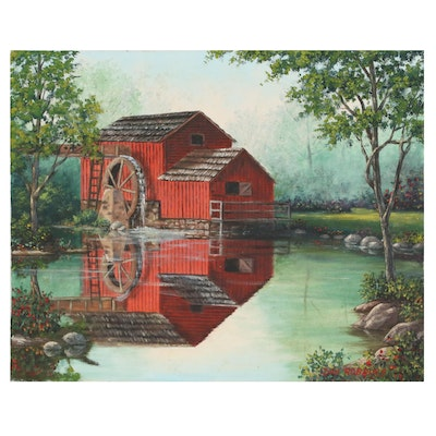 Oil Painting of Red Barn on a River, Late 20th Century