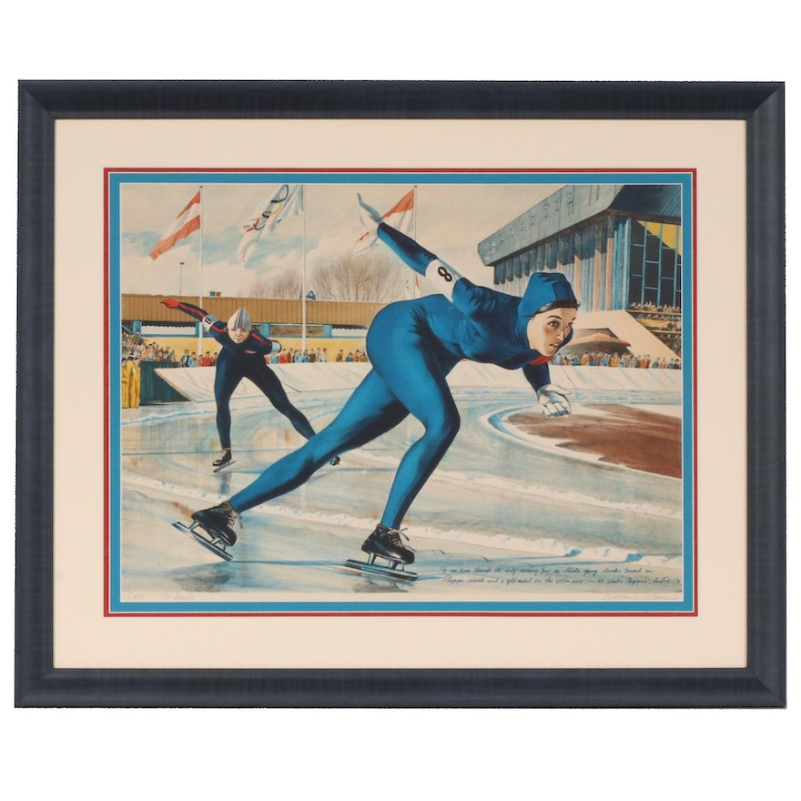 "William Nelson Color Lithograph ""Olympic Skating (Shiela Young)"", circa 1976"