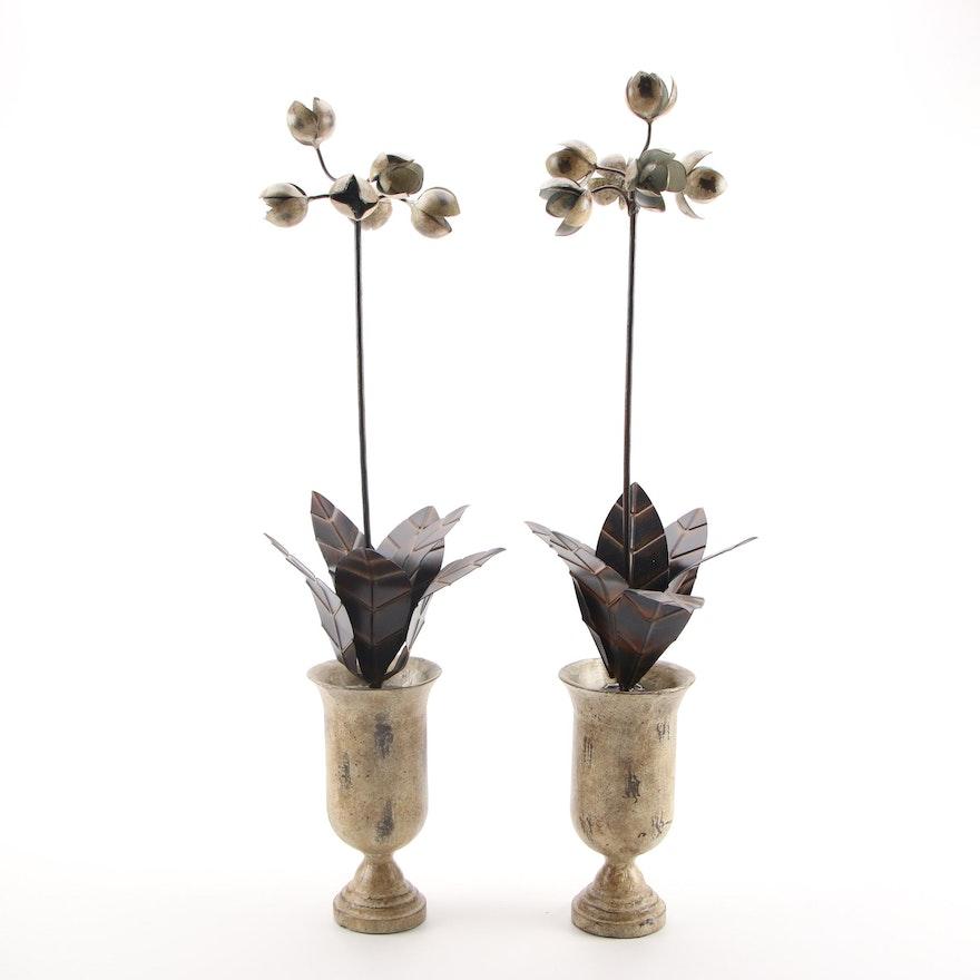 Global Views Pair of Decorative Metal Flower Arrangements in Ceramic Vase