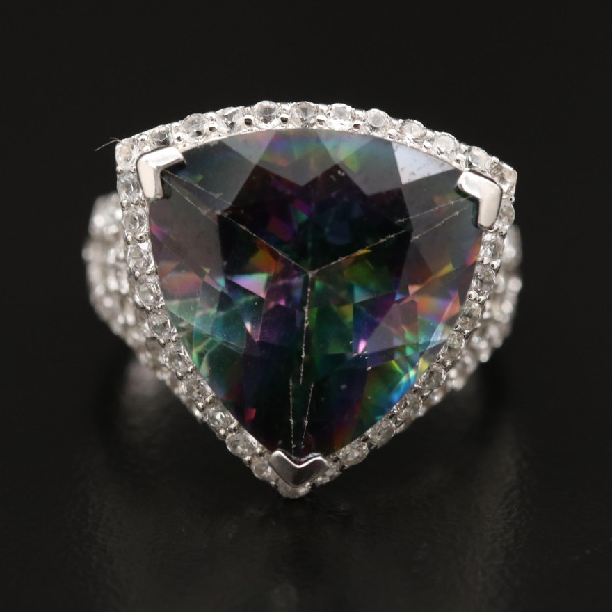 Sterling Silver Mystic Topaz Ring with Topaz Openwork Shoulders