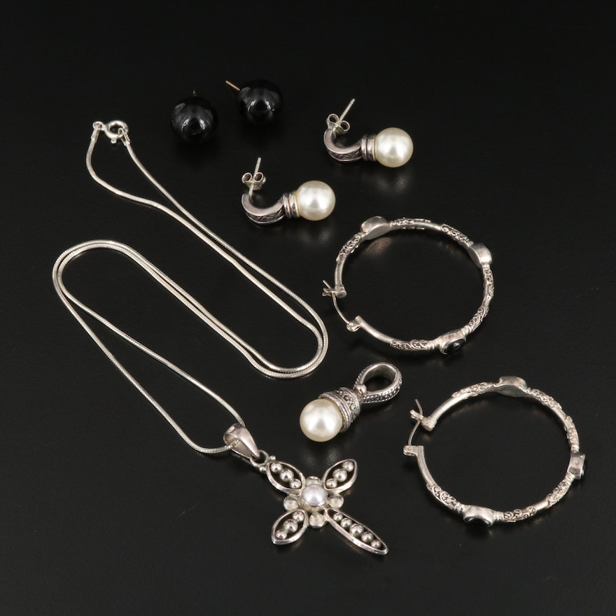 Sterling Silver Jewelry Selection Featuring Pearl and Marcasite