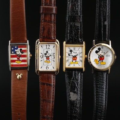 Collection of Four Mickey Mouse Quartz Wristwatches