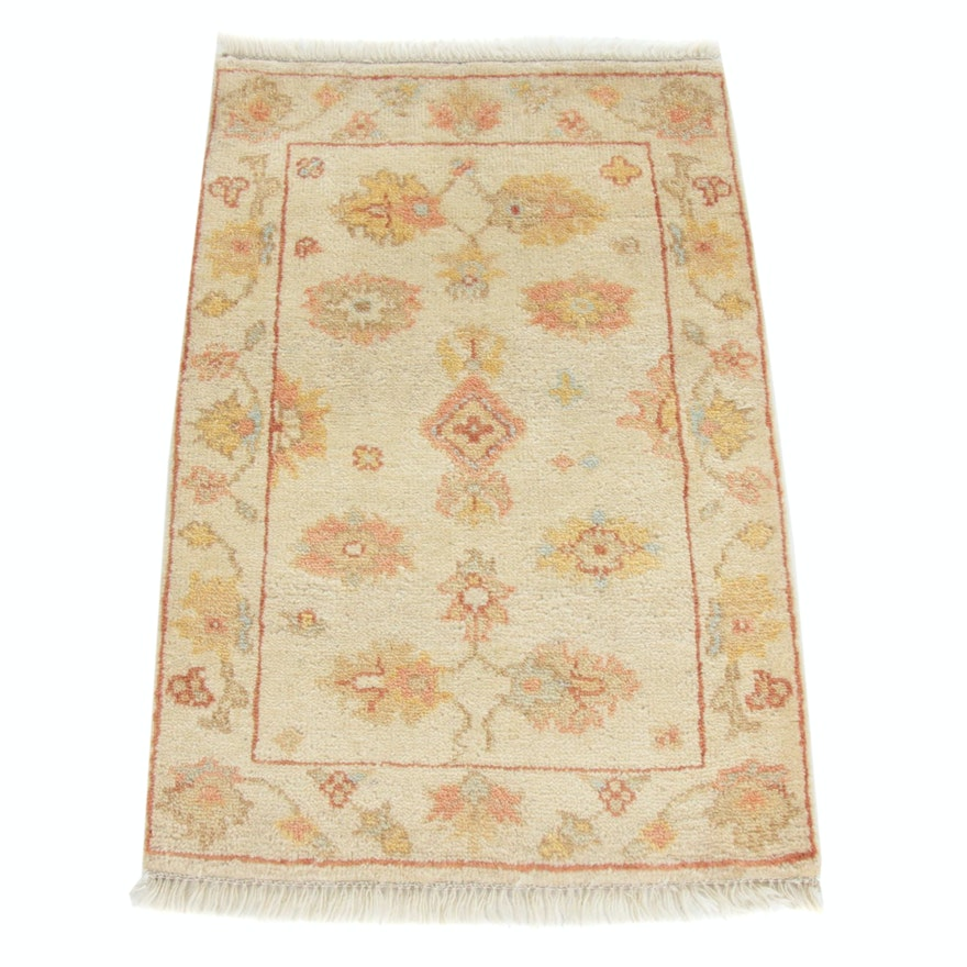 2'1 x 3'4 Hand-Knotted Turkish Oushak Rug, 2010s