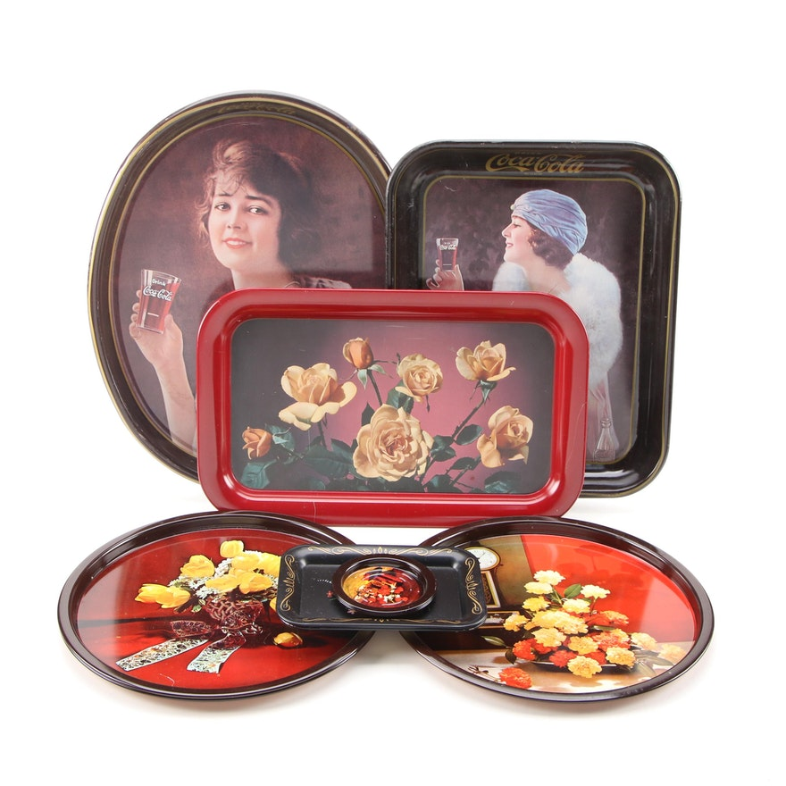 Collectible Metal Tray Serveware with Coca Cola and Floral Spray Motif