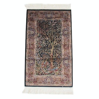 2'1 x 4'2 Power-Loomed Turkish Bamboo Silk Tree of Life Rug, 2010s