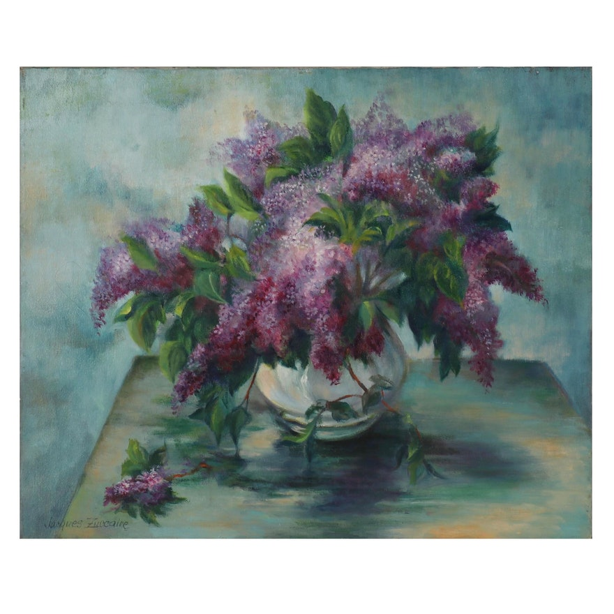 Jacques Zuccaire Still Life Oil Painting with Lilacs, Late 20th Century