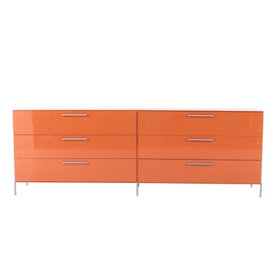 "B&B Italia ""Lunar"" Contemporary Modern Lacquered Wood and Metal Dresser"