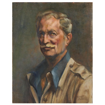 Jacques Zuccaire Oil Portrait of Older Gentleman, Late 20th Century
