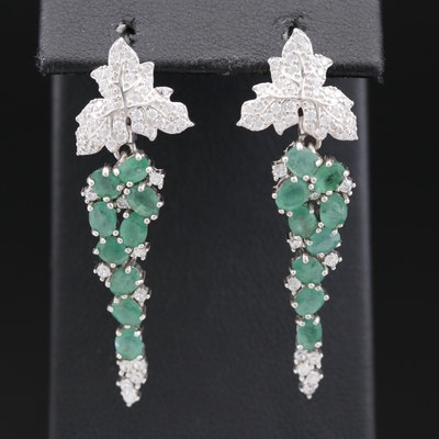 Sterling Emerald and Cubic Zirconia Leaf Cluster Dangle Earrings
