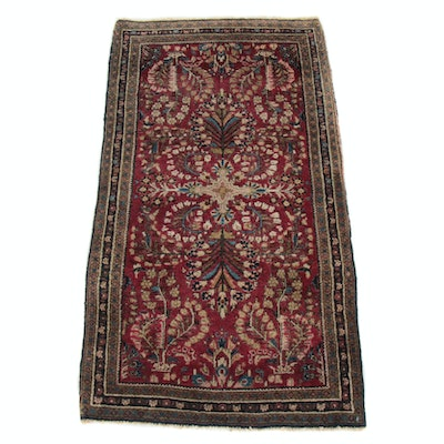 2'3 x 4'2 Hand-Knotted Persian Sarouk Rug, 1920s