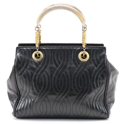 Fendi Quilted Black Leather Satchel with Pasta Shape Style Metal Handle