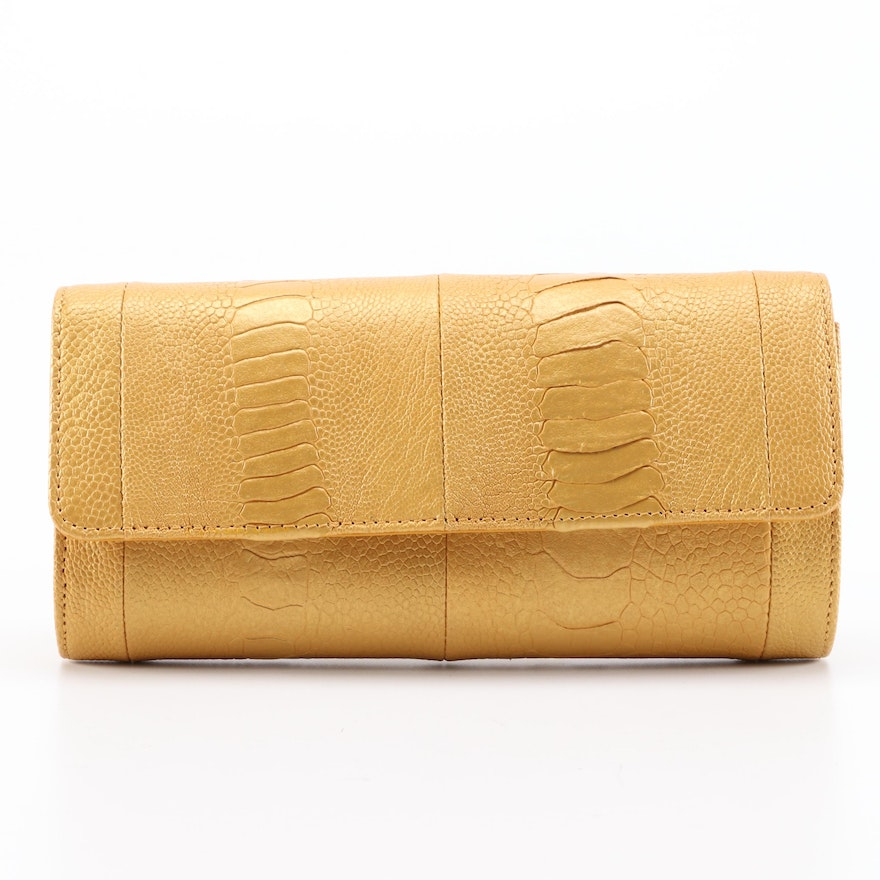 Eileen Kramer Metallic Ostrich Skin Evening Clutch Handbag