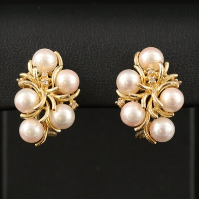 14K Pearl Cluster Earrings with Diamond Accents