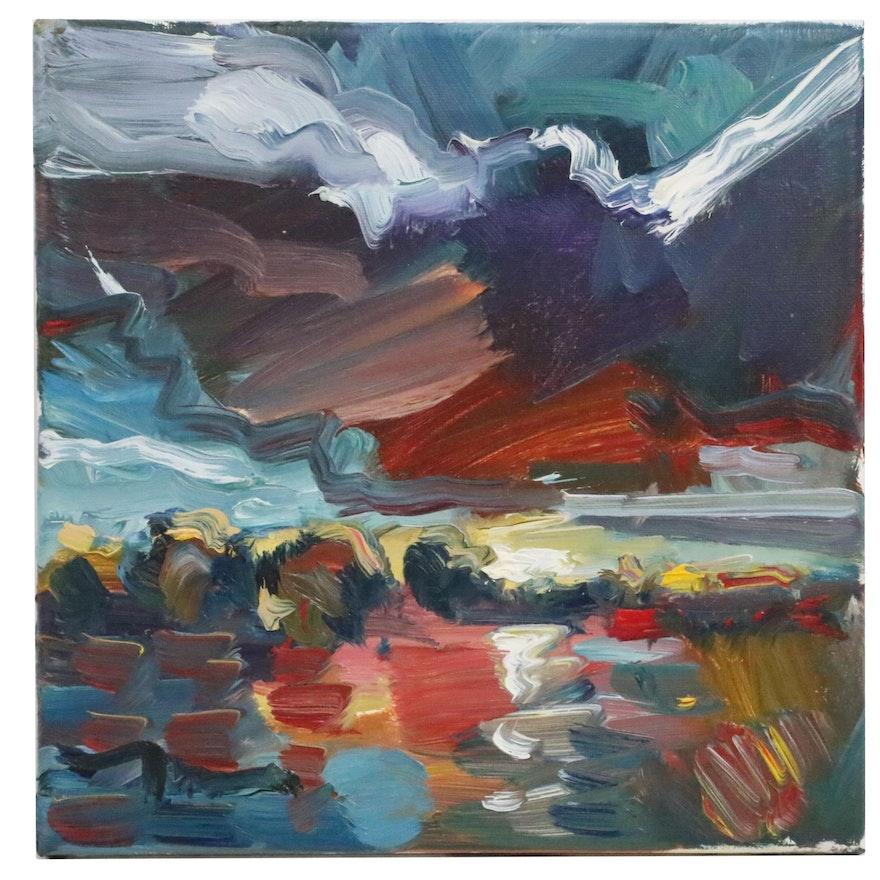 "Jose Trujillo Oil Painting ""Sunset Light"", 2018"