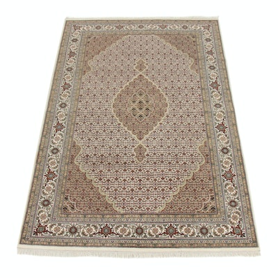 5'11 x 9'4 Hand-Knotted Indo-Persian Tabriz Silk Blend Rug, 2010s