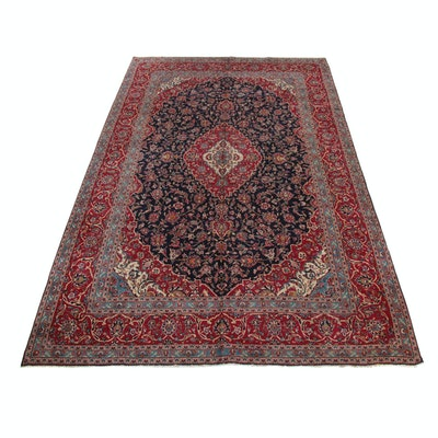 9'11 x 15'11 Hand-Knotted Persian Kashan Room Size Rug, 1970s