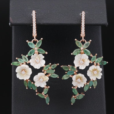 Sterling Foliate Earrings Featuring Mother of Pearl, Emerald and Cubic Zirconia