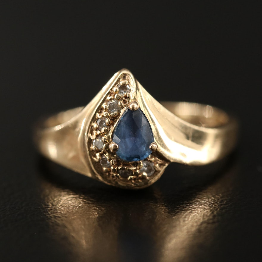 14K Pear Faceted Sapphire and Diamond Ring