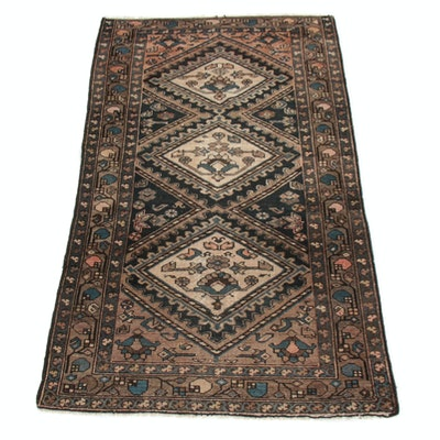 3'7 x 6'0 Hand-Knotted Persian Malayer Rug, 1920s