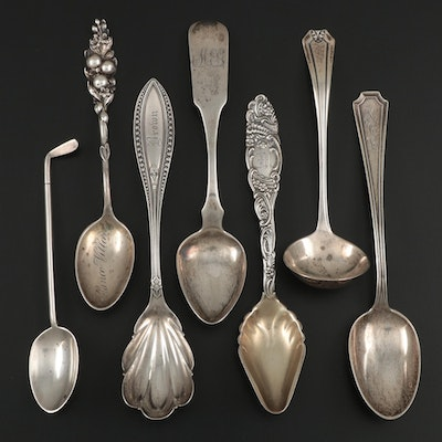 Walker & Hall Sterling Golf Club Spoon with Other American Sterling Utensils