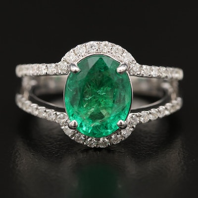 14K Emerald and Diamond Split Shank Ring