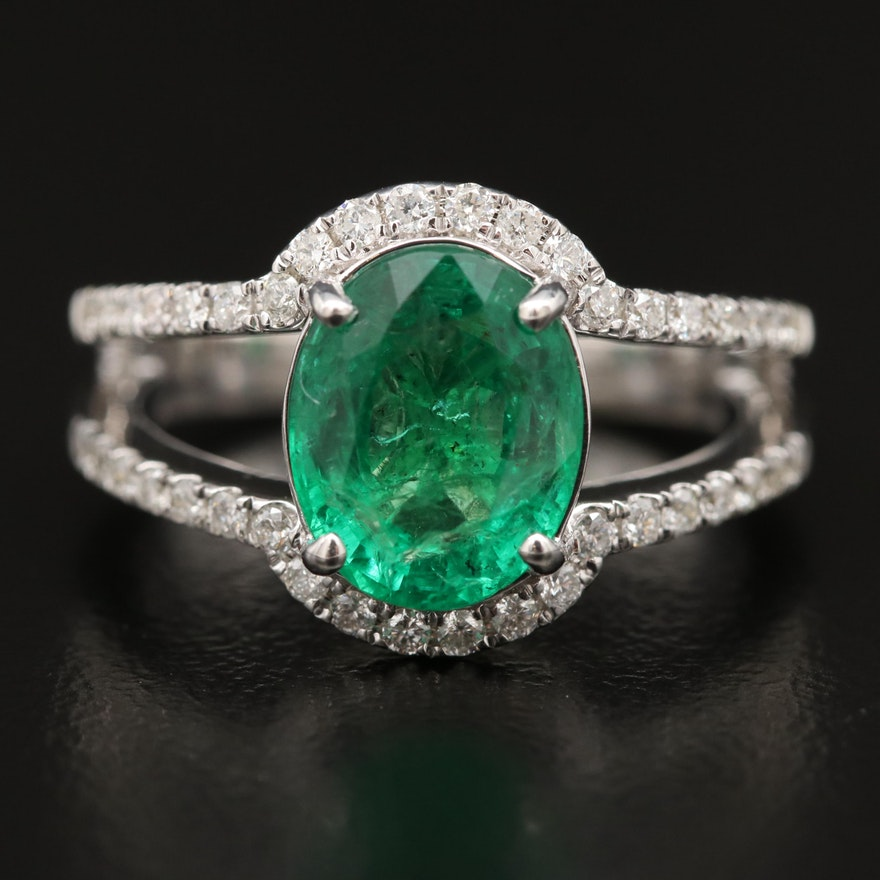 14K Emerald and Diamond Split Shank Ring