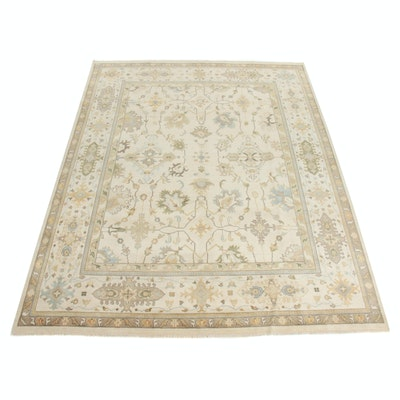 9'3 x 11'10 Hand-Knotted Indo-Turkish Oushak Room Size Rug, 2010s