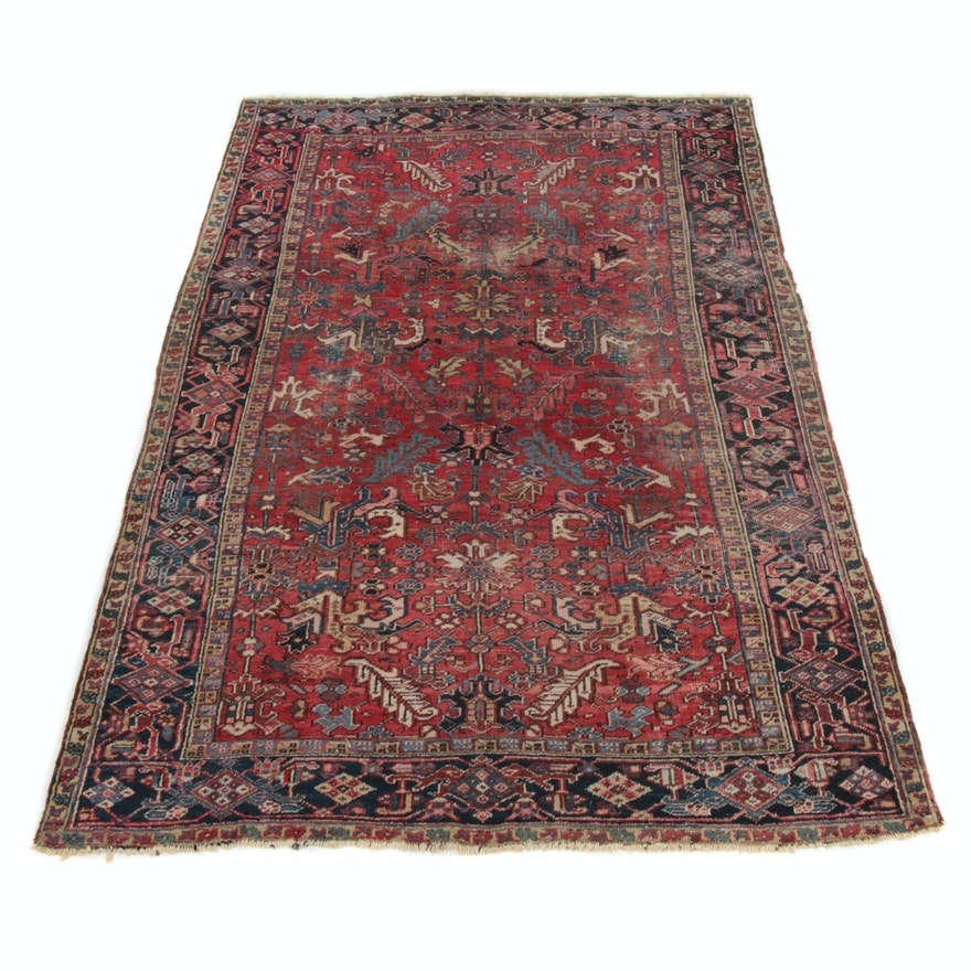 7'5 x 10'9 Hand-Knotted Persian Heriz Room Size Rug, 1930s