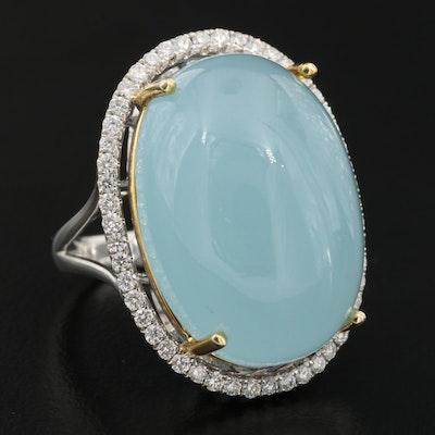 14K 39.53 CT Aquamarine and Diamond Halo Statement Ring