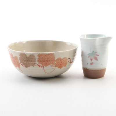 Japanese Leaf Motif Stoneware Pottery Bowl and Creamer