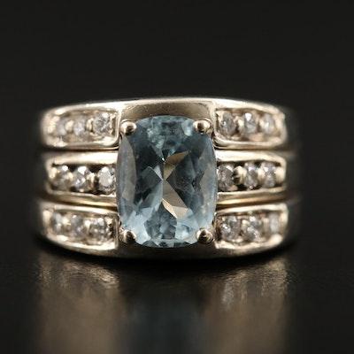 14K Aquamarine and Diamond Soldered Ring Set