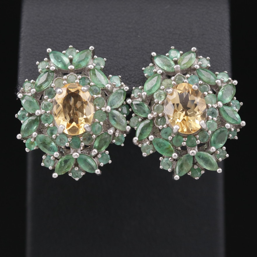 Sterling Citrine and Emerald Cluster Drop Earrings