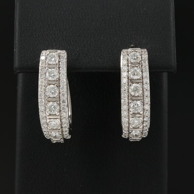 14K 2.20 CTW Diamond Hoop Earrings