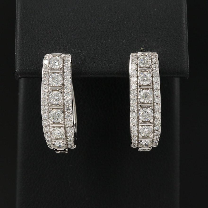 14K 2.20 CTW Diamond Hoop Earrings